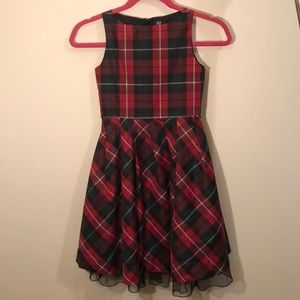GAP girl's dress 6-7 plaid holiday red EUC